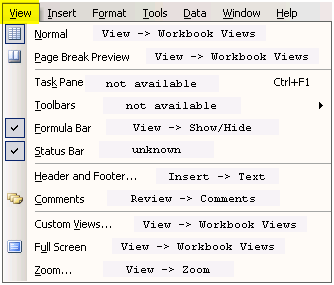 Excel 2003 VIEW menu translated into Excel 2007