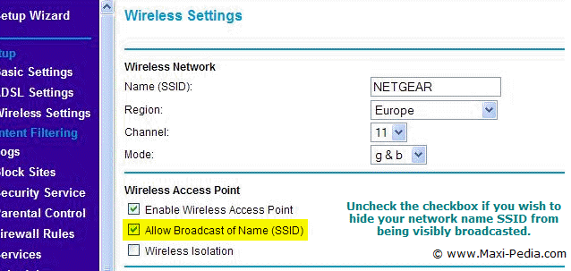 Hide network name SSID - access point configuration