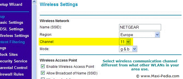 Wireless broadcast channel access point setting