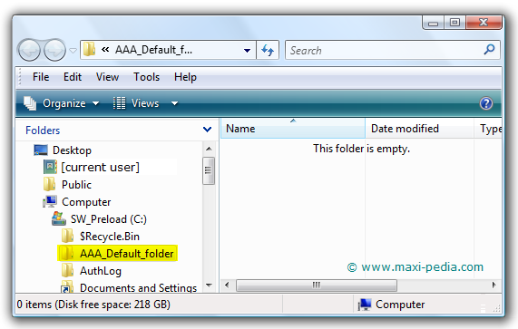 Windows Explorer default folder