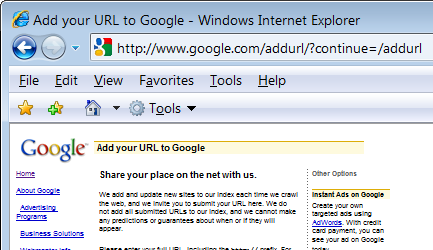 How to add url to google