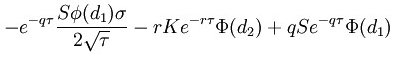 Option theta formula call option
