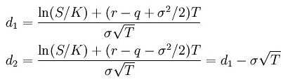 Option theta d1 and d2 parameters formula