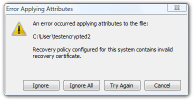 Recovery policy configured for this system contains invalid recovery certificate