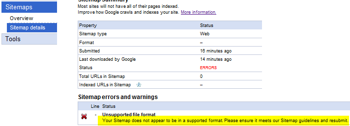 Your Sitemap does not appear to be in a supported format